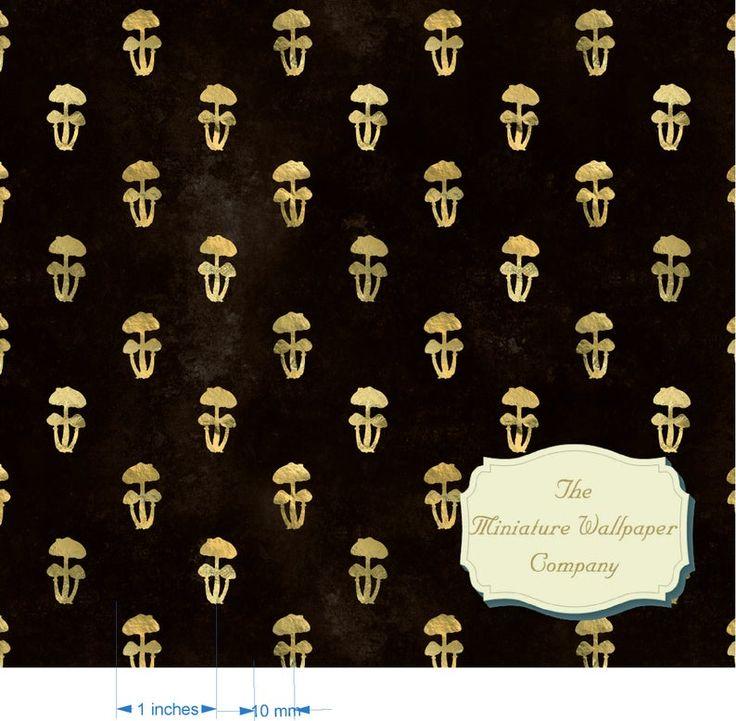 Golden Mushroom Luxury Wallpaper 170gsm Or Self Adhesive Etsy Luxury Wallpaper Wallpaper Doll House Wallpaper