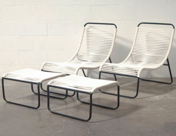 RETRO OUTDOOR WALTER LAMB STYLE LOUNGE CHAIR AND OTTOMAN  New Made Tubular Metal with Rope Seating. Ottoman Measures 21.75 x 18 x 12.50.