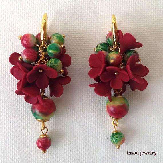 Bordeaux Earrings Flower Earrings Fashion Earrings Bordeaux