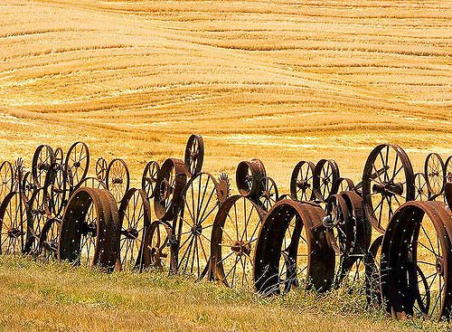 Part of the Dahmen's farm fence built from the wheels. I think it is the only tourist attraction in this whole area.
