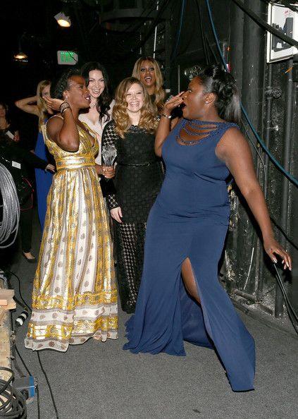 Uzo Aduba and Danielle Brooks celebrate her win