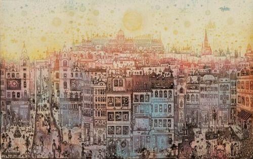 Gross Arnold (1929): Budapesti forgatag Színes nyomat, 300 x 475 mm