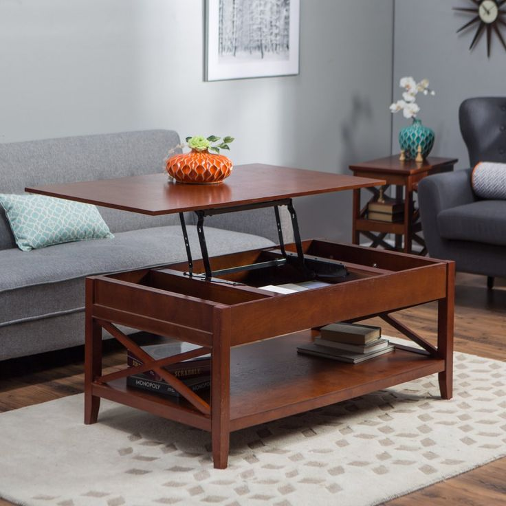 Belham Living Hampton Lift-Top Coffee Table - Cherry - The Hampton Lift Top Coffee Table - Cherry has classic Craftsman style and modern conveniences that make it one smart coffee table. This living room e...
