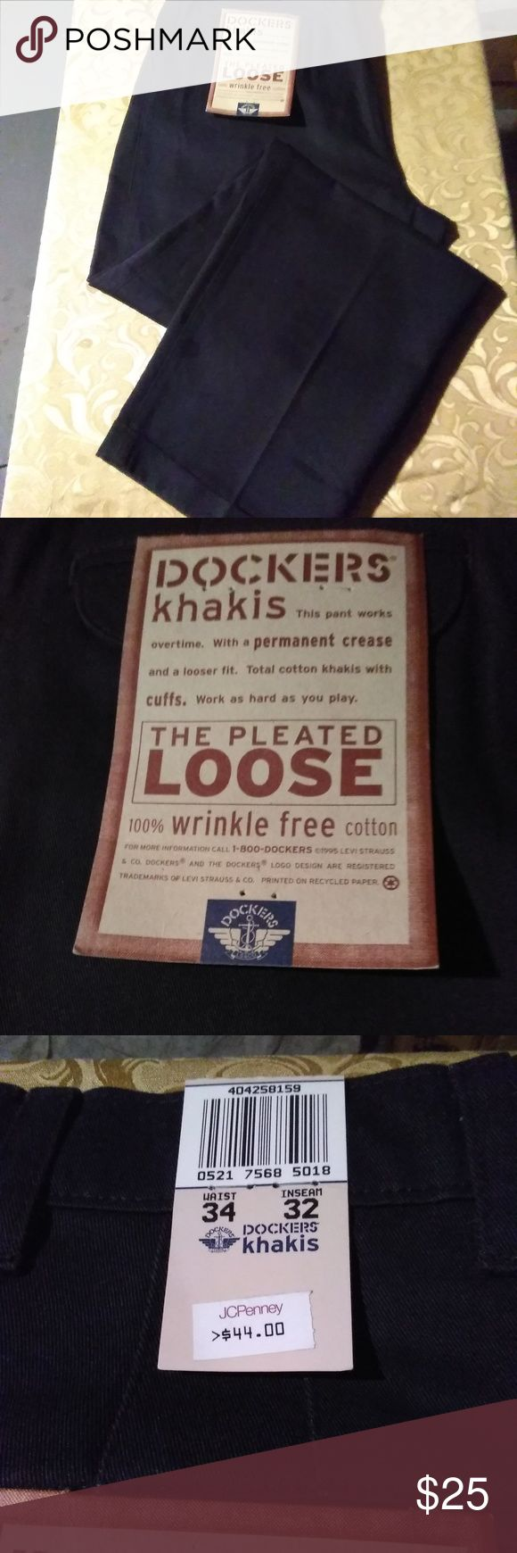 Dockers Men's Khakis (34x32) NWT (Must Go!) A never used Men's pair of khaki pants. There is no damage to this item, they are great for work or a night out. Original tags still attached. It's a Men's (34 x 32). The color is all Black with a solid pattern.  It's made from 100% Cotton.Also they are wrinkle free. Make an offer on this or any item you like. Bundle and save even more. Bundle deals change.  Thank you for shopping kingzmarket631. Dockers Pants Chinos & Khakis