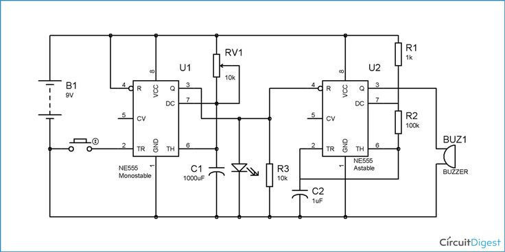 simple ic 555 door bell circuit diagram image