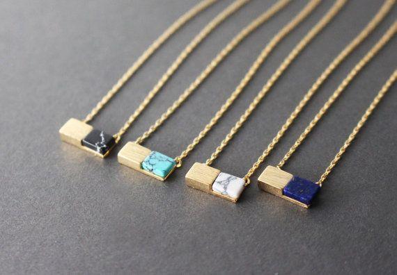 Collane di pietre dure rettangolare / / collane pietre dure / / turchese collana / / nero collane pietre dure / / collana di marmo