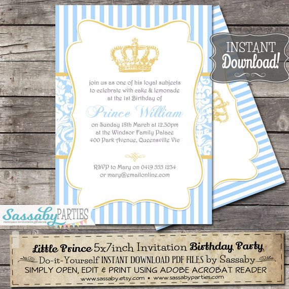 Little Prince Birthday Party Invitation - INSTANT DOWNLOAD - Editable & Printable Boys Party Invitation by Sassaby