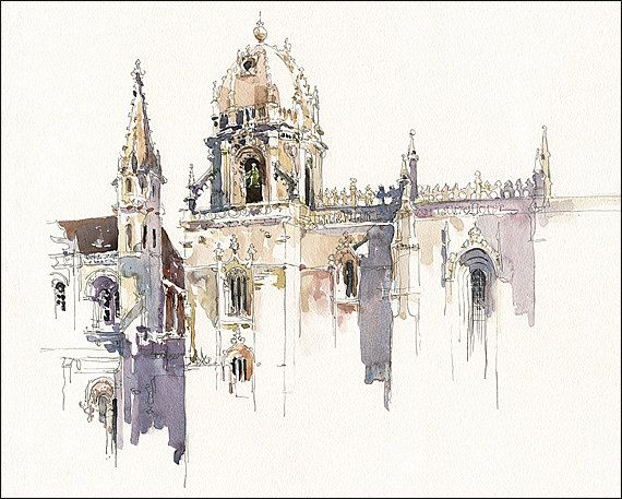Art Print on Watercolor Paper - Historic  Lisbon - Urban Sketching - Plein Air Painting - Marc Taro Holmes - Jerónimos Monastary - 8x10""