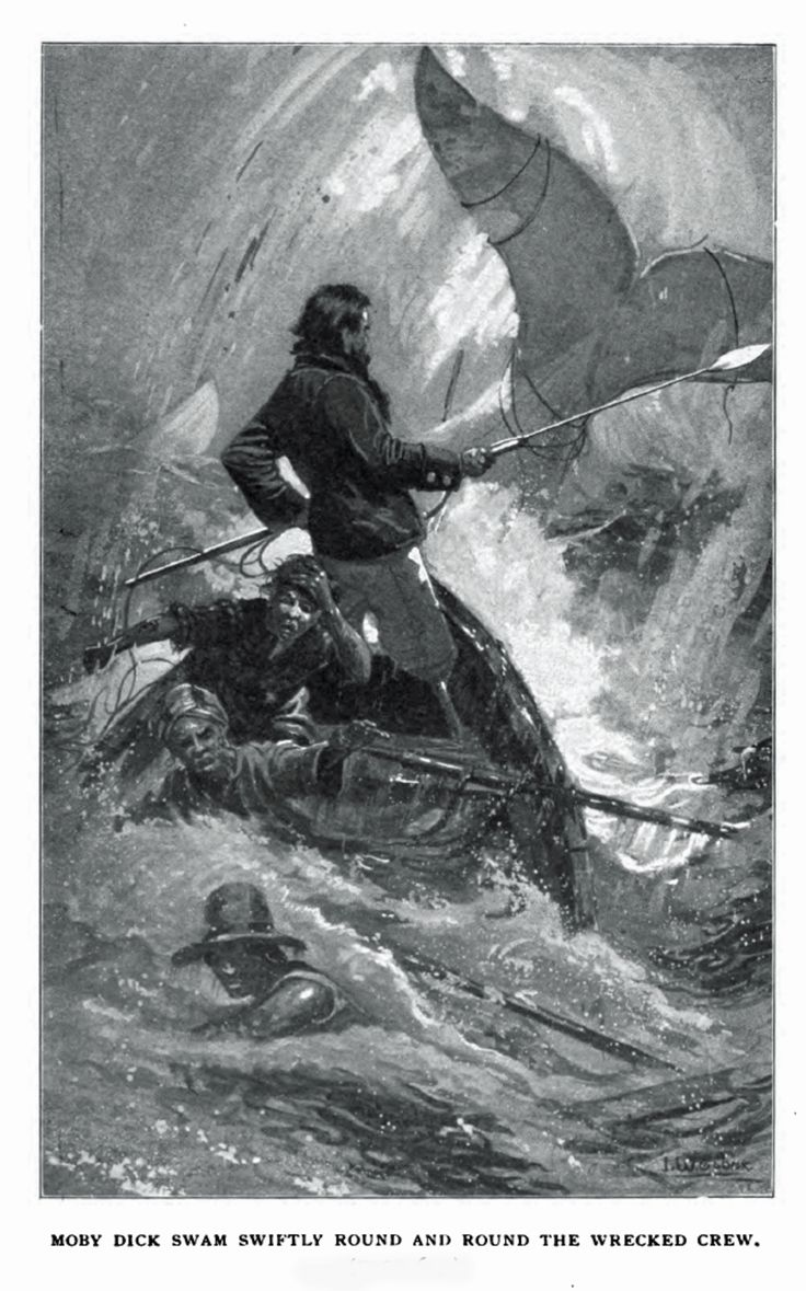 Whalers in action wood engraving published in 1855 stock illustration - The Crew Appears To Be Lost In This Dramatic Illustration From Moby Dick Or