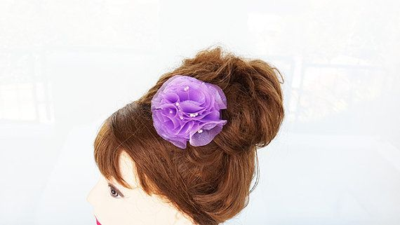 Dark Lilac Flower  Hair Clip Alligator Clip Bridal by nezoshop, $11.00