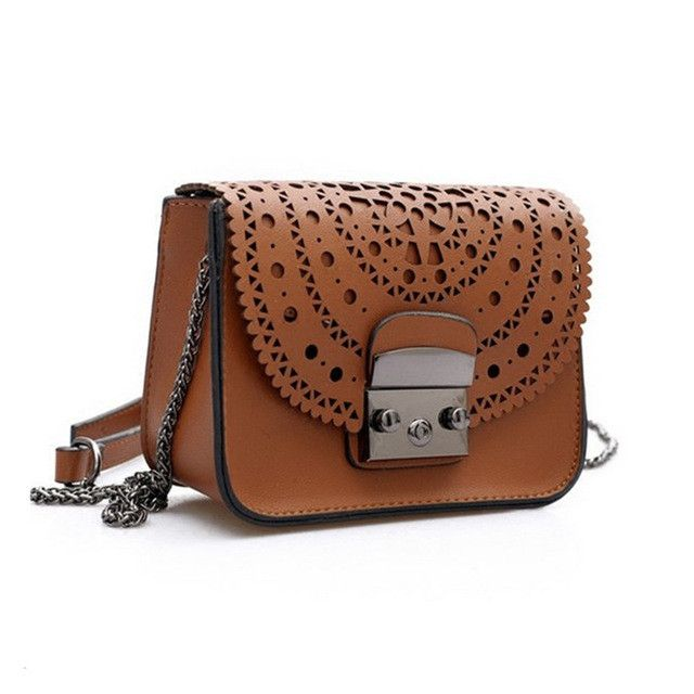 2017 Fashion small bag Hollow Out Women Crossbody Bag Soft Leather handbags Purse Clutches Brand womens Messenger Shoulder Bags