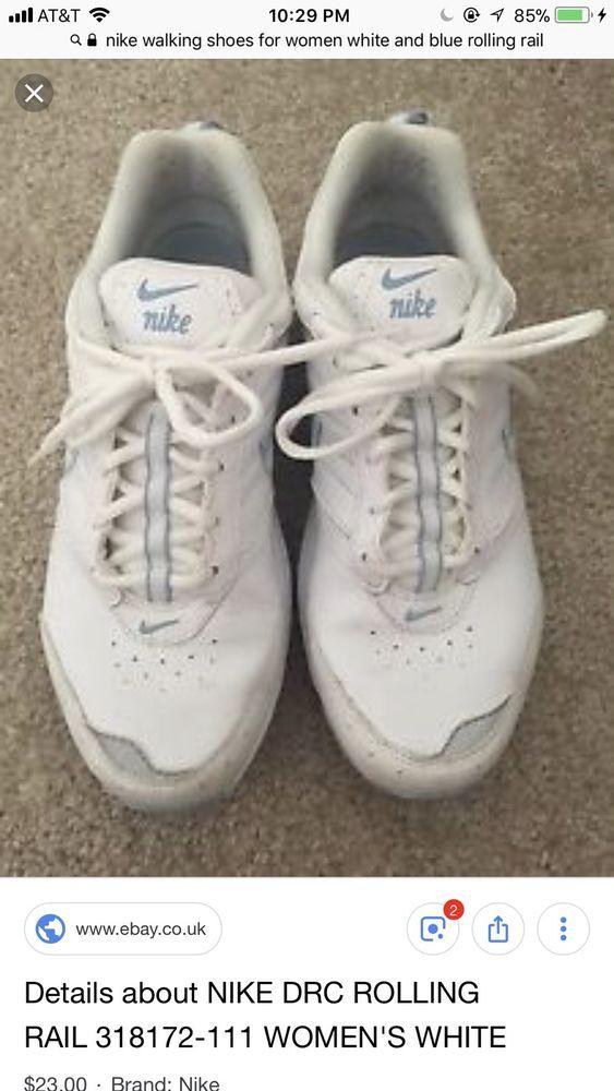 266cfa3a4aa51 NEW Nike View II Women's 8.5M White Blue Rolling Rail Walking Shoes ...