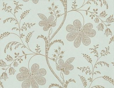 Bedford Square (0273BELARIM) - Little Greene Wallpapers - A pretty intricate floral trail, outlined in gold with delicate detail infill on a pale duck egg blue background. Please order sample for true colour match.