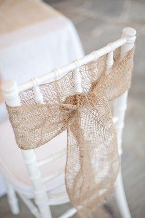 Burlap bow: Burlap Chairs Sash, Idea, Chairs Ties, Burlap Ribbons, Chairs Decor, Chairs Bows, Burlap Bows, Chairs Back, Chairs Covers