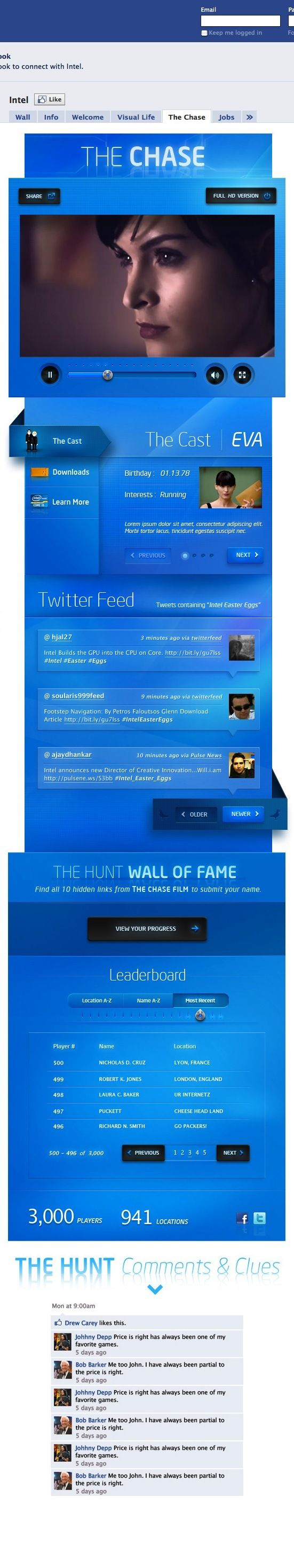 "Intel ""The Chase"" Facebook App by Ben Cline, via Behance"