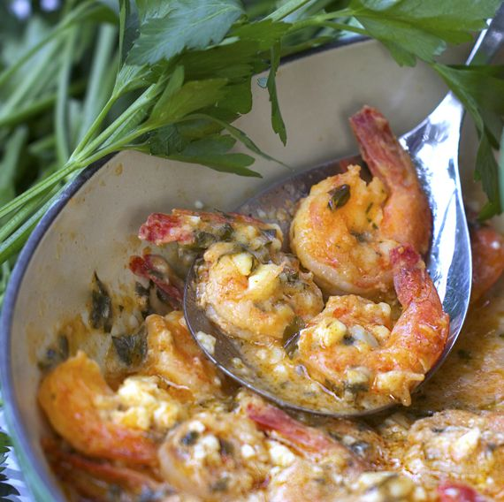 Greek Style Garlicky Shrimp with Feta.  Easy & fit for a special occasion.  Great with crusty bread!