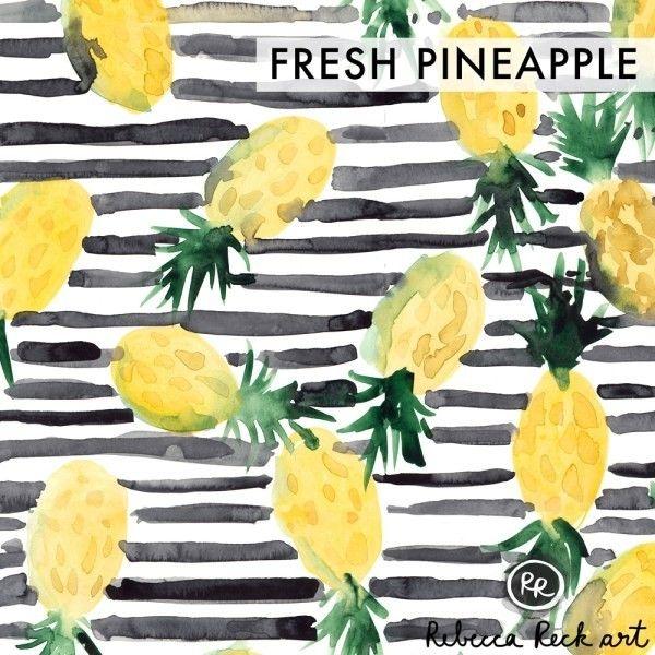 Jersey Knit Fabric - Fresh Pineapple - Rebecca Reck