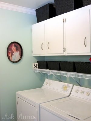 Laundry room update, hopefully in the next few weekends. I love the color (pillow mint by Valspar) and the shelf above the machines for knick knacks.