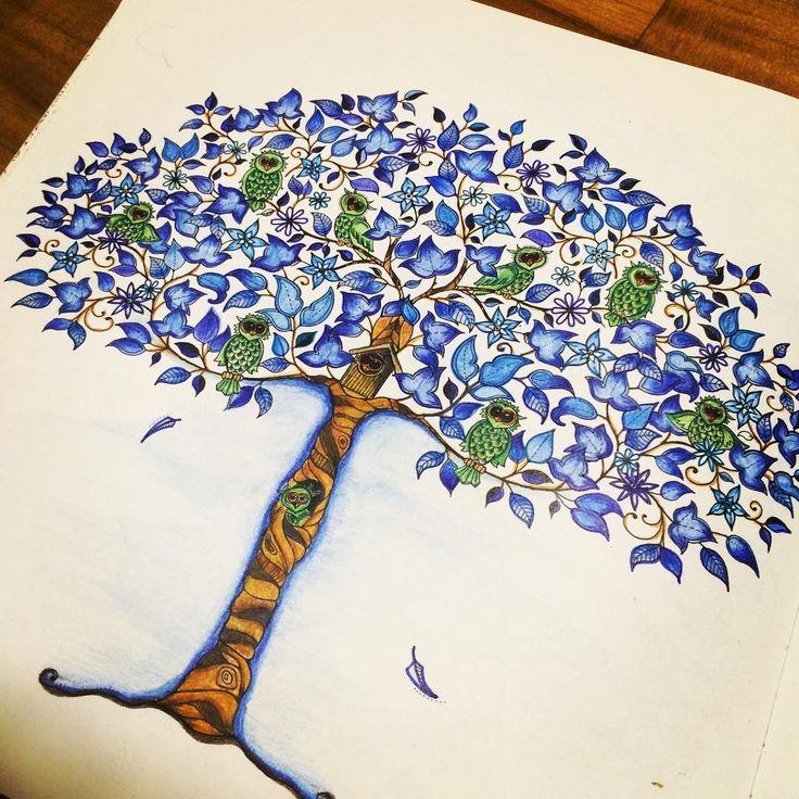 """Anyone feeling blue?  #johannabasford #secretgarden #colouringin #colouringbook #popularbookstore #colour_secrets #coloringbook  #hobby…"""