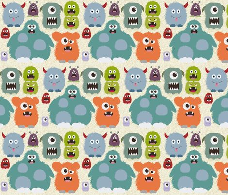 Just monsters fabric by dogsndubs on spoonflower custom for Baby monster fabric