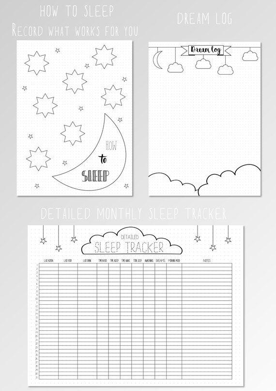 Bullet Journal Sleep Log Dream Tracker BUJO Template
