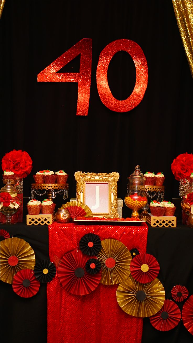 40th Black Gold Red Candy Buffet Table