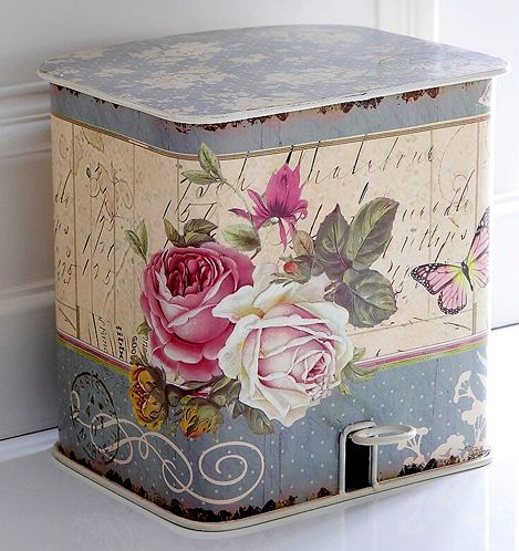 Decoupage trash can - idea for updating an old one
