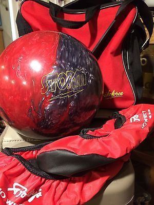 STORM BOWLING BALL PEARLED MARBLED RED PEWTER EQUIPMENT GEAR LOT ~ MADE IN USA