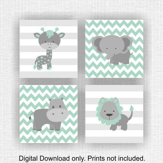 INSTANT DOWNLOAD Mint and Gray Jungle Animals Nursery Prints, Lion Hippo Giraffe Elephant Chevron Animals Playroom wall art Set of 4, 8×10