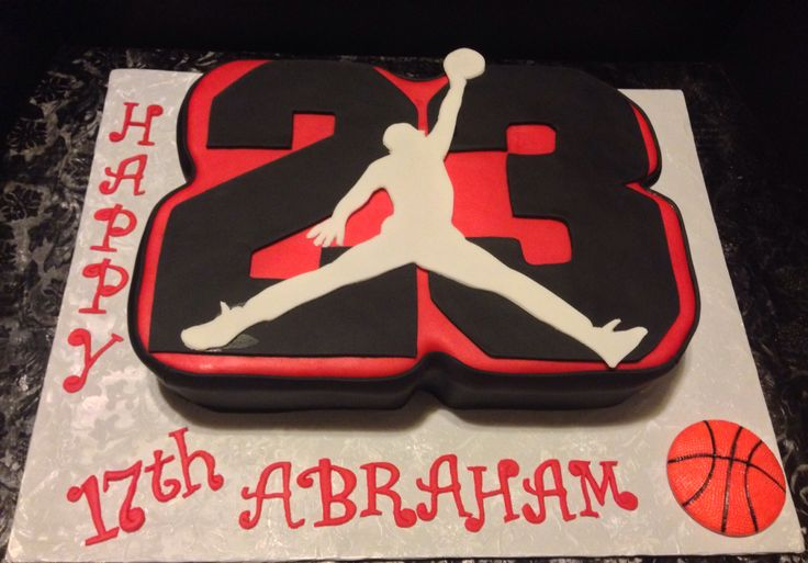 Michael Jordan cake for Abraham's 17th birthday. Designed & decorated by Anna Hernandez of The Pink Bakery Box.