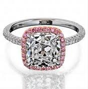 pink halo cushion cut engagement ring