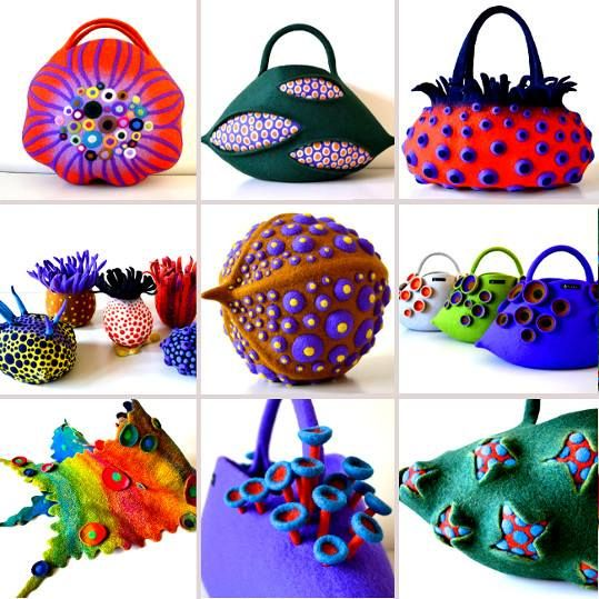 Colorful felted bags, scarves,brooches, home accessories and more...let me introduce you to a Japanese felt artist, Atsuko Sasaki