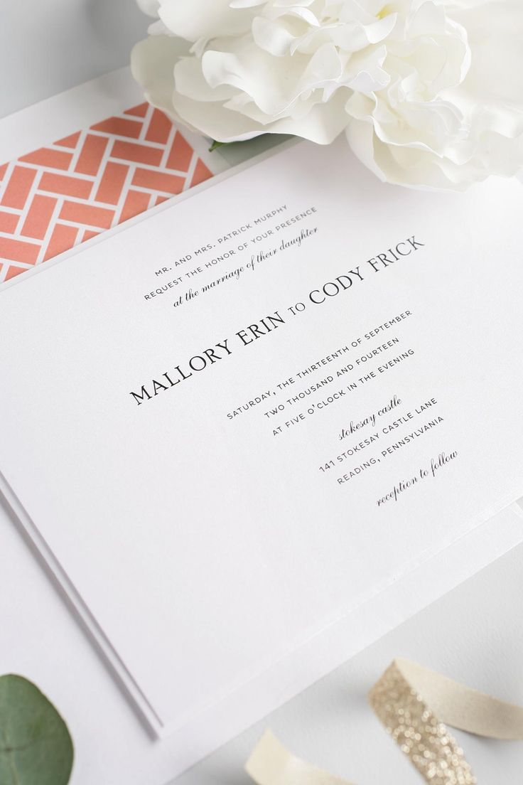 Simple and Elegant Wedding Invitations in Coral