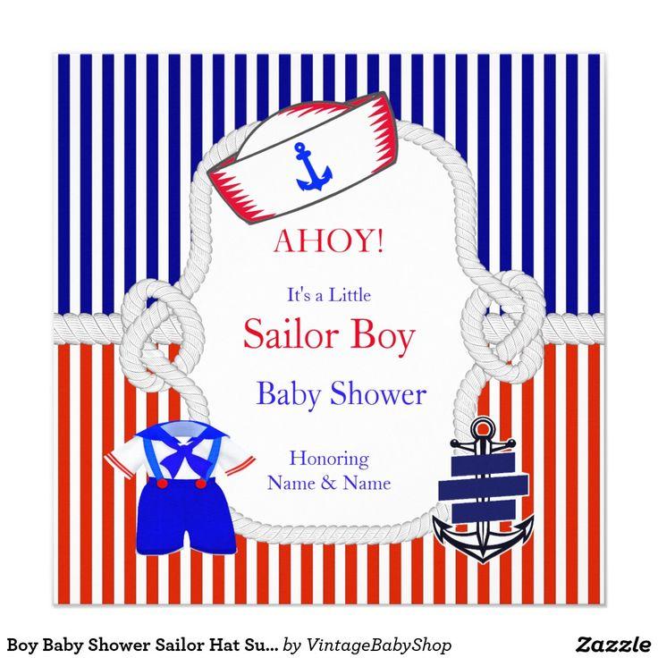 Jungen-Baby-Duschen-Seemann-Hut-Anzugs-rotes Quadratische 13,3 Cm Einladungskarte