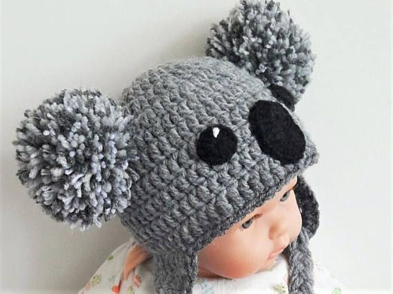 Crochet earflap hat-Australian animal-bear KOALA. Cute accessory that …