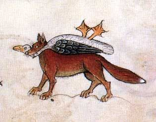 Fox with goose. Luttrell Psalter, England circa 1330-1340, London, British Library, Add. Ms. 42130, fol. 31st
