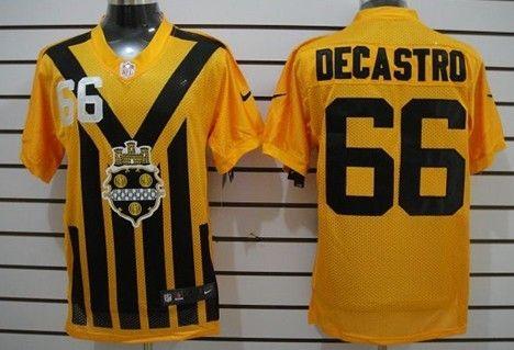 Men's Pittsburgh Steelers #66 David DeCastro 1933 Yellow Throwback Jerseys