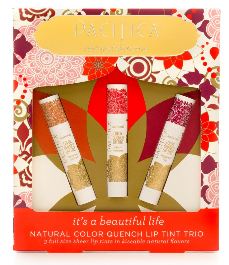 Three full size sheer color lip tints in kissable natural flavors, in a beautifully packaged gift set.  Formulated with coconut and avocado oils in easy to wear shades.  Naturally flavored and sweetened with Stevia.  Treatment + color – the Pacifica way! Perfectly portable, recyclable tube and box.
