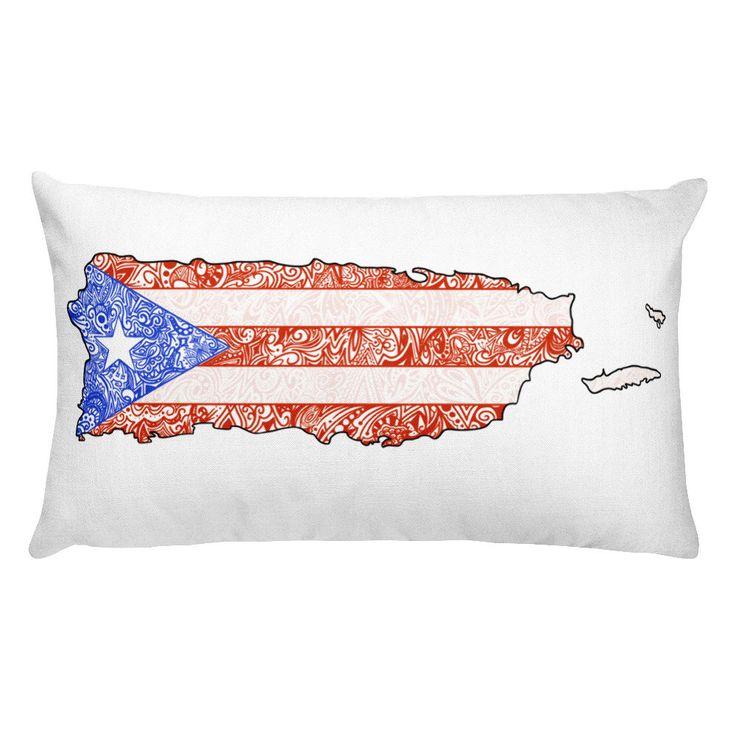 Puerto Rico Pillow, Puerto Rican Flag Pillow, Puerto Rican Flag, Puerto Rico Map, Puerto Rico map pillow, Puerto Rico Gift, Puerto Rico Home
