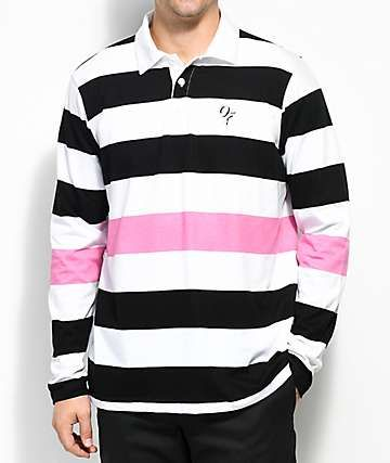 0b7d7201 ... reduced odd future black white pink striped long sleeve polo shirt  5be9f 9e1ec