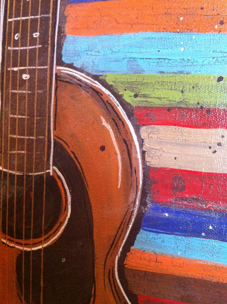 Acoustic guitar painting | how to paint | Guitar painting ...