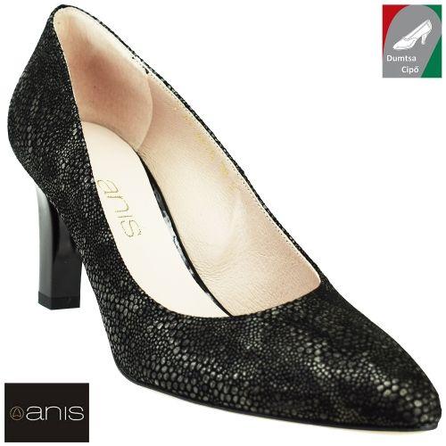 Anis női bőr cipő 4478 fekete kombi/luska