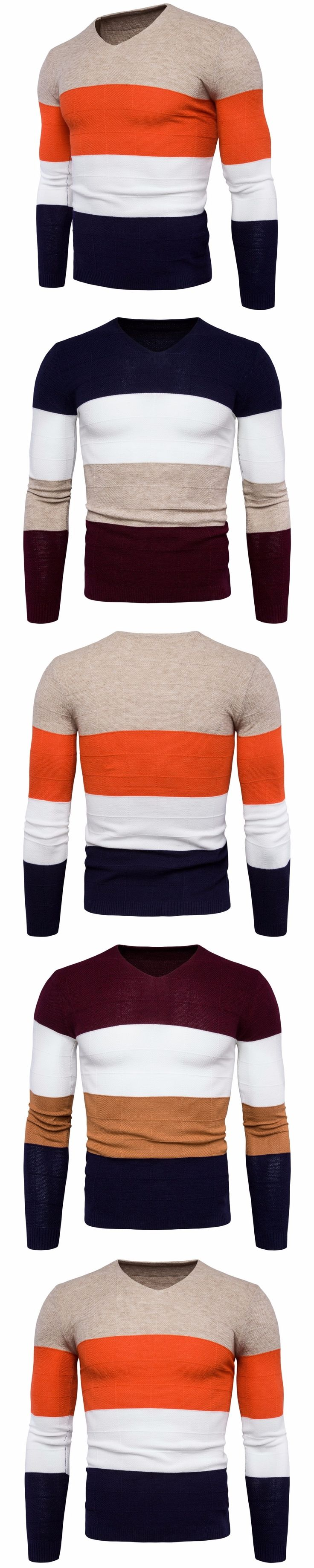 2017 New Fashion Multicolor Striped Pullover Sweater Men V-Neck Autumn Winter Mens Wool Sweaters Brand Knitwear Pull Homme