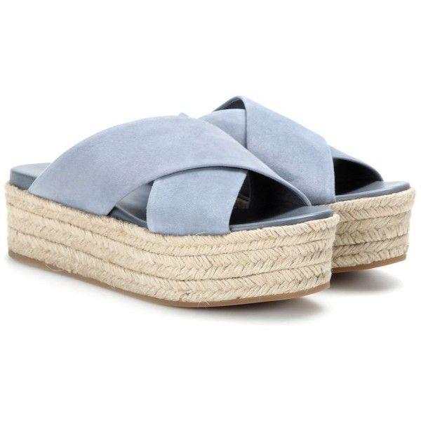 Miu Miu Suede Platform Espadrille-Style Platform Sandals (1.650 RON) ❤ liked on Polyvore featuring shoes, sandals, flats, zapatos, обувь, blue, espadrilles, platform sandals, miu miu flats and blue suede sandals