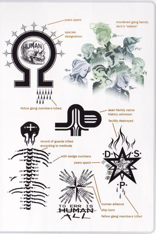 Jack's tattoos mass effect