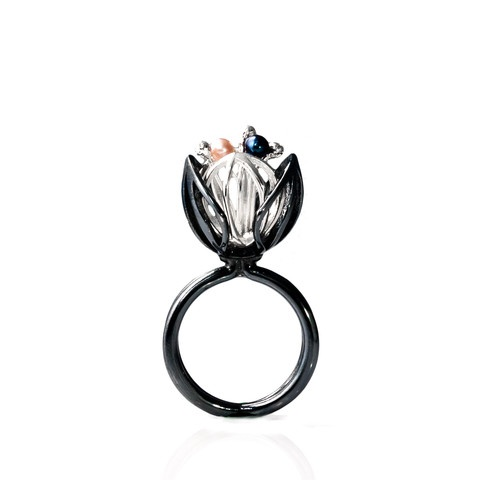 """""""Black and White Blossom"""" ring. Oxidised/blacken sterling silver. fresh water pearls."""