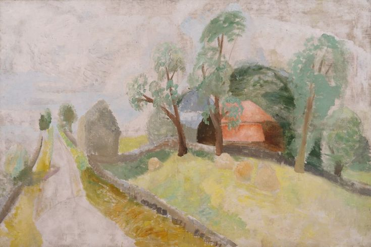 winifred nicholson - oil on canvas - roman road (landscape with two houses) (1926)