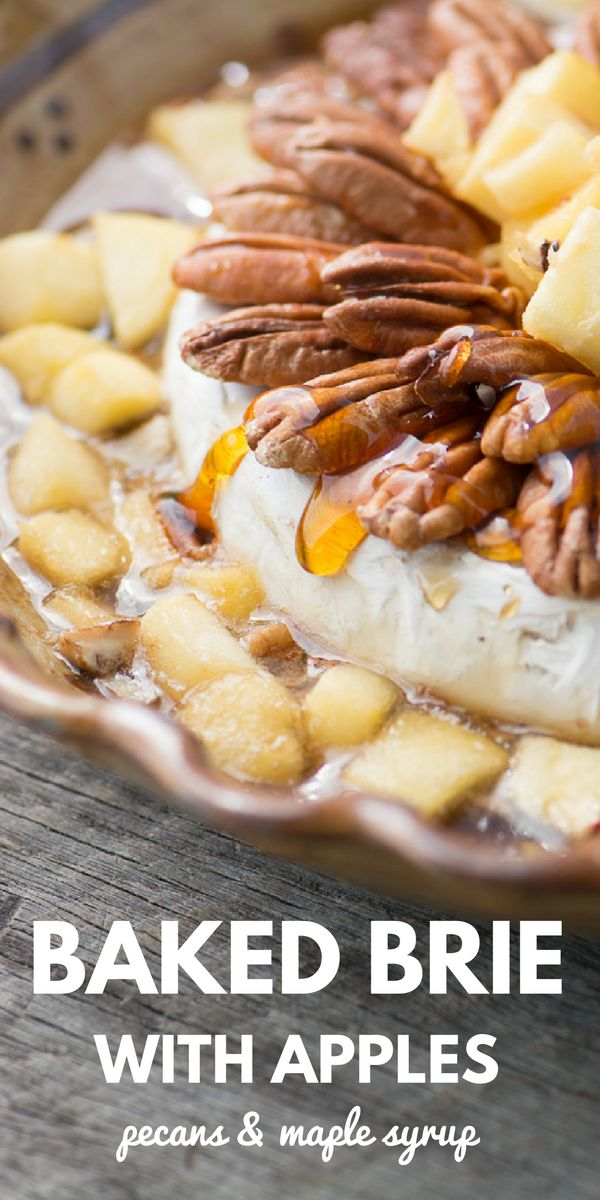Baked Brie with Apples, Pecans, & Maple Syrup is a showstopping appetizer ~ theviewfromgreatisland.com