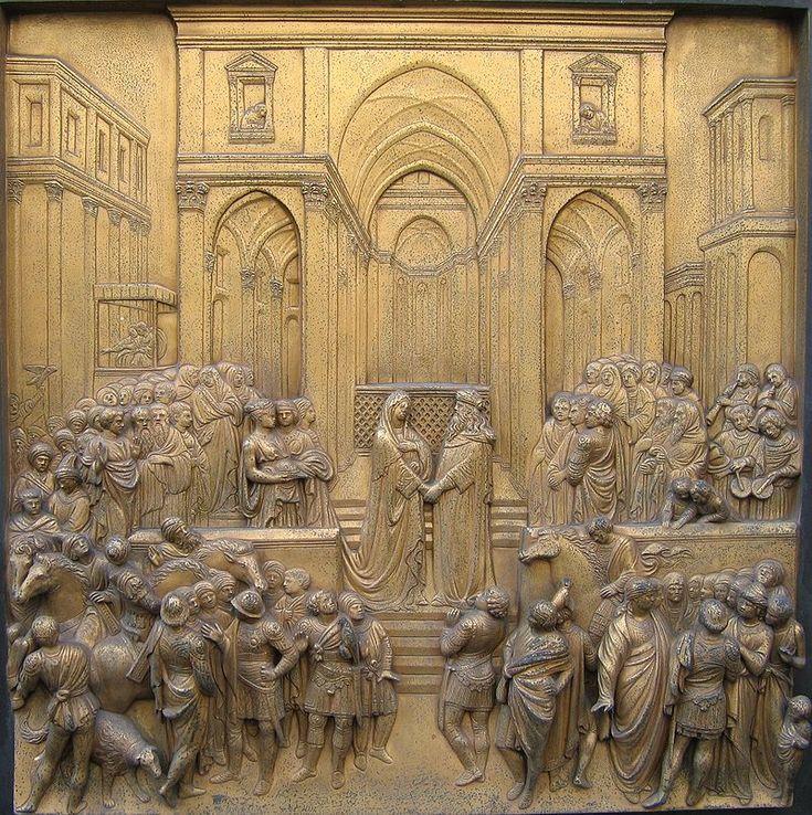 Лоренцо Гиберти. «Райские врата»: Встреча Соломона и царицы Савской.