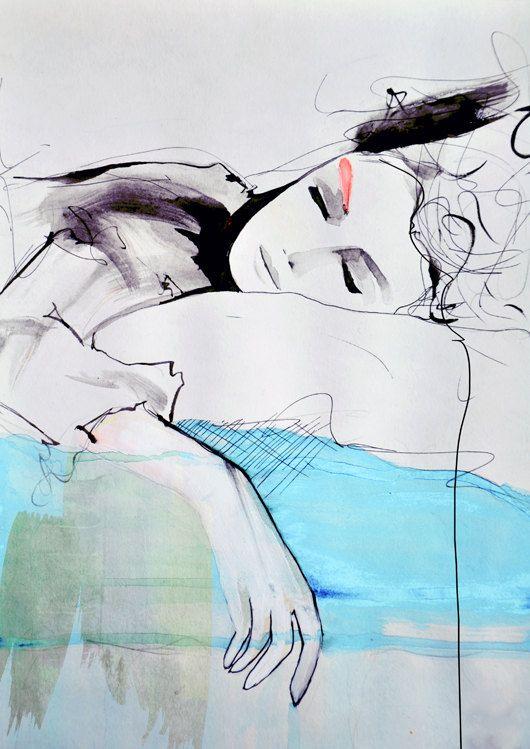 Maddelina - Illustration Art Print. leigh viner
